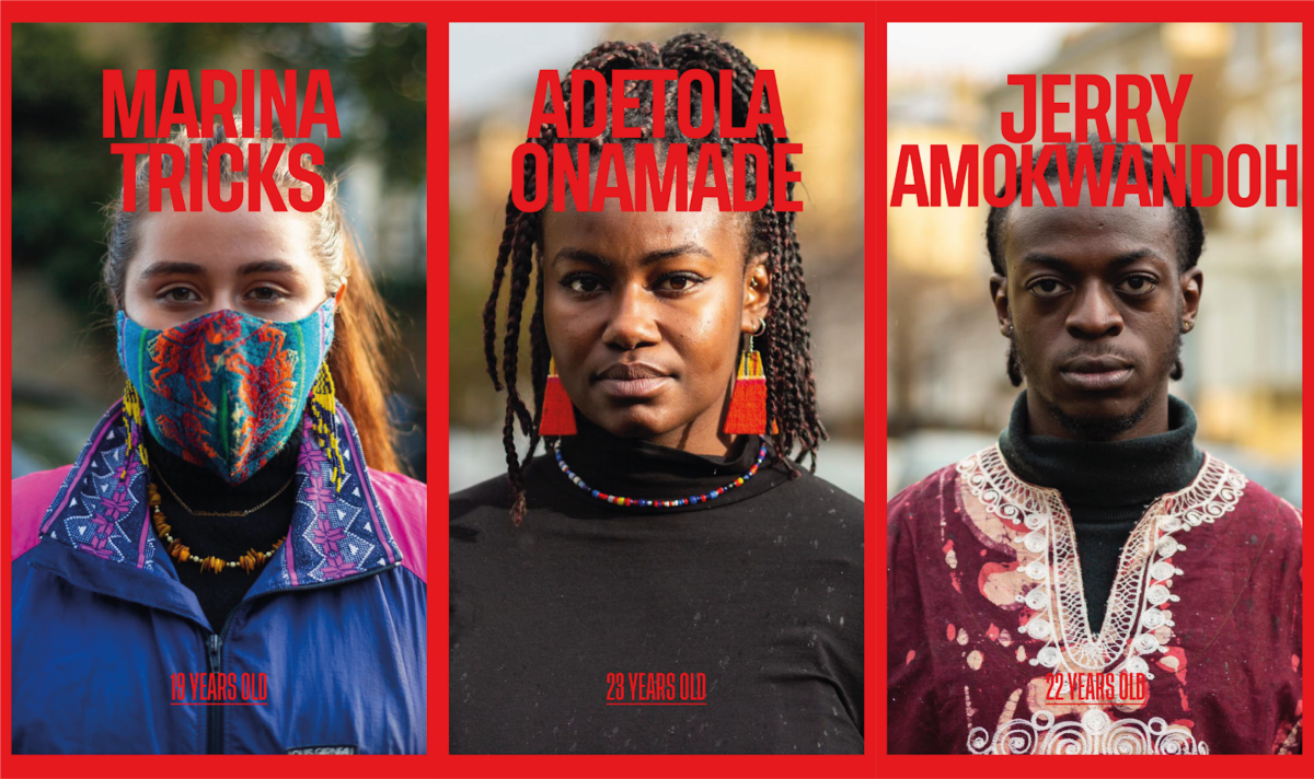 Photographs showing Maina Tricks, Asetola Onamade, and Jerry Amokwandoh, three young British people